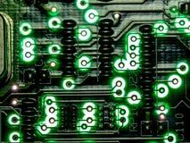 抽象背景,绿色电路板的关闭 电子计算机硬件技术 Mainboard计算机背景 库存图片