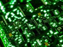 抽象背景,绿色电路板的关闭 电子计算机硬件技术 Mainboard计算机背景 免版税库存图片