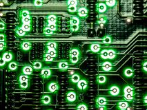 抽象背景,绿色电路板的关闭 电子计算机硬件技术 Mainboard计算机背景 Integrat 免版税图库摄影