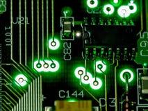 抽象背景,绿色电路板的关闭 电子计算机硬件技术 Mainboard计算机背景 Integrat 免版税库存图片