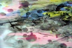 抽象背景,蜡,烧了纸,油漆,水彩 库存图片