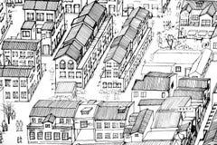 抽象背景-中国房子黑白绘画  免版税图库摄影