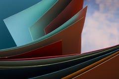 抽象背景 五颜六色的弯曲的纸片 特写镜头射击 免版税库存图片