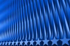 抽象背景-几何表面的好的蓝色3D例证形成与被挤压的星形状,庆祝概念 库存例证