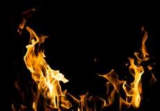 抽象背景 在黑色背景的火火焰 免版税库存照片