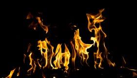 抽象背景 在黑色背景的火火焰 免版税库存图片