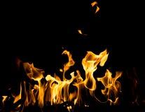抽象背景 在黑色背景的火火焰 库存照片