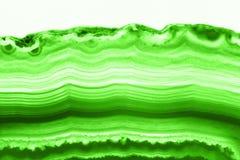 抽象背景-强烈的绿色玛瑙短剖面切片矿物 库存图片