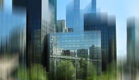 抽象背景 巴黎的商业中心的看法 蓝蓝 图库摄影