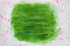 抽象背景绘画,手拉在时髦绿色树荫颜色以抓痕 水彩纸纹理  免版税库存照片
