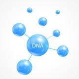 抽象脱氧核糖核酸,蓝色球 向量例证