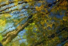 抽象自然本底:对角黑暗的树干,黄色叶子在与波纹的大海反射了 免版税库存照片