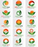 抽象自然Eco绿色叶子&太阳商标 免版税库存图片