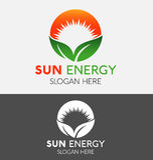 抽象自然Eco绿色叶子&太阳商标 皇族释放例证