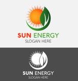 抽象自然Eco绿色叶子&太阳商标 向量例证