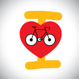 抽象自行车象概念传染媒介与I爱周期消息的。 库存照片