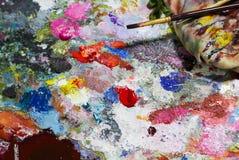 抽象色板显示丙烯酸酯的油漆 抽象派Paintin 免版税图库摄影