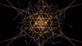 抽象艺术品 与微粒的五颜六色的线在黑背景 皇族释放例证