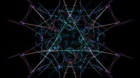 抽象艺术品 与微粒的五颜六色的线在黑背景 库存例证