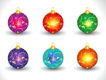 抽象艺术性的五颜六色的多个圣诞节球 库存照片
