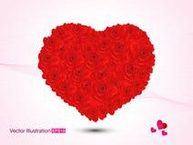 抽象艺术性的华伦泰红色玫瑰心脏传染媒介例证 库存图片