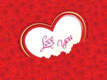 抽象艺术性的华伦泰红色玫瑰心脏传染媒介例证 库存照片