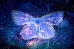 抽象艺术性的能量领域蝴蝶形状在空间背景中 向量例证