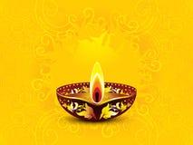 抽象艺术性的黄色diwali背景 免版税库存图片