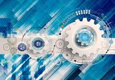 抽象艺术性的3d例证在数字背景的独特的现代机械轮子 向量例证