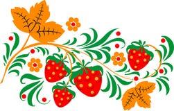 抽象花卉和strawbwerry模式 库存照片