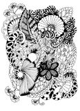 抽象花卉图象 Zentangle 图库摄影