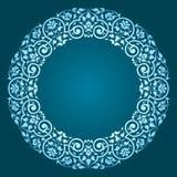抽象花卉圆框架设计 免版税库存照片