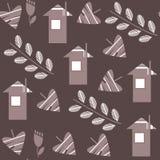 抽象花卉在软的棕色co的幻想传染媒介无缝的样式 免版税库存照片