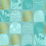 抽象花卉无缝的样式郁金香 时髦手拉的纹理