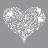 抽象花卉样式心脏传染媒介例证 免版税库存图片