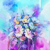 抽象花卉油漆绘画 开花在青绿和红颜色背景的绘画 向量例证