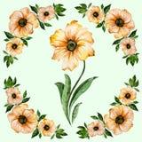 抽象花卉背景 与绿色叶子的美丽的黄色花 在浅绿色的背景的圆的样式 多孔黏土更正高绘画photoshop非常质量扫描水彩 免版税库存照片