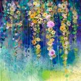 抽象花卉水彩绘画 春天花季节性自然背景 免版税库存照片