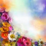 抽象花卉水彩绘画 递雏菊大丁草和玫瑰色花的油漆白色,黄色,桃红色和红颜色 库存图片