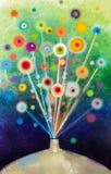 抽象花卉水彩绘画 静物画在花瓶的花绘画 库存例证