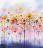 抽象花卉水彩绘画 库存照片