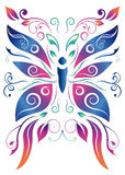 抽象花卉蝴蝶-传染媒介设计 库存图片