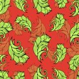 抽象花和植物无缝的样式,传染媒介背景 自然风格化装饰品 墙纸设计的手图画, 库存照片