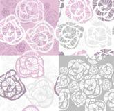 抽象花纹花样玫瑰无缝的集 免版税库存图片
