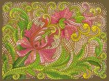 抽象花马赛克葡萄酒种族无缝的图象装饰物 在古色古香的样式的地板 免版税库存照片