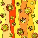 抽象花鸦片,向日葵的无缝的样式 在水彩背景的图表,背景设计的, 库存例证