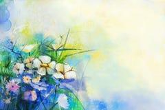 抽象花水彩绘画 手油漆草甸花 库存图片