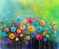 抽象花水彩绘画