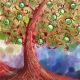 抽象苹果分行螺旋结构树 免版税库存图片