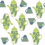 抽象茶罐无缝的传染媒介样式 它位于swatc 图库摄影